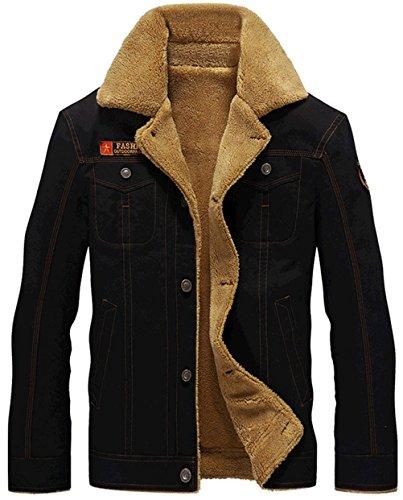 WS668 Winter Herren Dicker Warm Coat Plus Samt Gefüttert Militär Jacken Schwarz
