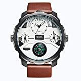 QY OULM Men ' S Quartz Watch Tre Movimenti Bussola Comode Orologi in Pelle Cinturino in Pelle Quadrante Orologio da Polso,White