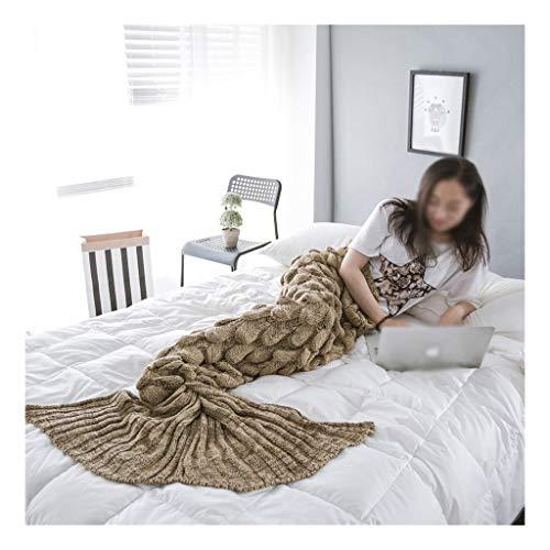Manta marrón de punto, cola de sirena escala manta tejida peces, adecuado for 90 * 195cm damas adultas...