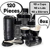 Juego de 40 tazas de café desechables de alta calidad de doble pared, tapas negras, agitadores de madera