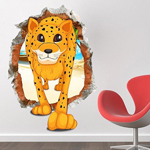 Bazaar 3d bébé kid cartoon chambre belles mignon stickers muraux léopard autocollants en papier amovibles art cadeau bricolage amusant décoration