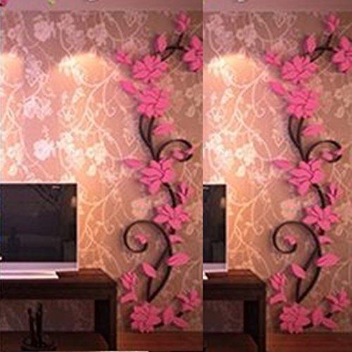 Vine Grafiken (Kicode Wandaufkleber 3DFlora entworfen Blumenhandwerk DIY Art Abnehmbar Living Bed Room Home Dekoration)