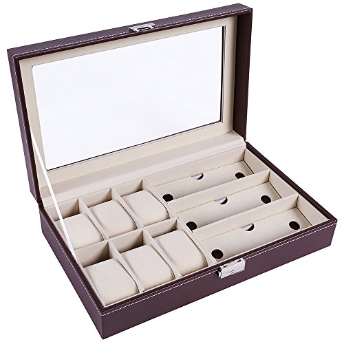 Vemupohal Luxus Schwarz Leder Armbanduhr Box Case Jewelry Collection Lagerung Organizer Display Armbanduhr Boxen (6 Unren(Brown))