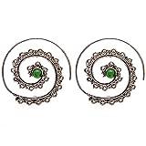 81stgeneration Messing Silber Ton Simulierte Smaragd Spiral Dotwork Stammes Ethnische Ohrringe