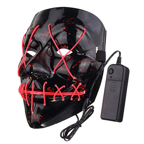 Tioodre led light up flash mask per halloween party divertente halloween mask halloween puntelli maschera orrore rosa