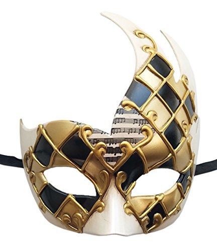 Herren Maskerade Maske Vintage venezianischen Checkered Musical Party Mardi Gras Maske (Gold / Schwarz)