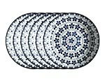Mäser, Serie Bilbao, Teller tief 21 cm, Geschirr-Set im 6er-Set, dekoriert in den Farben Blau und Weiß