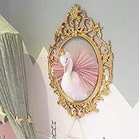 Niedlich 3D Golden Crown Swan Wandkunst Hängenden Mädchen Swan Puppe Stofftier Tierkopf Wand-Dekor für Kinderzimmer Geburtstagsgeschenk, weiß & Pink