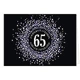 Große XXL (A4) Glückwunschkarte zum 65. Geburtstag - Konfetti Look Lila auf schwarz/mit Umschlag/Edle Design Klappkarte/Glückwunsch/Happy Birthday Geburtstagskarte/Extra Groß/Edle Maxi Gruß-Karte