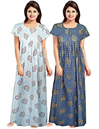 Afreet Fashion Women Cotton Gown Sleepwear Nightwear Maxi Soft Night Suit Cotton (Multicolor) Combo Pack of 2 Peice