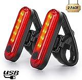 Nestling Luce Posteriore Bici USB Ricaricabile, luci Anteriori potenti per Biciclette LED, IP65 Impermeabile con 4 modalità,Fanale Posteriore Sicuro - per Bici da Strada e Mountain Bike(2 PCS)