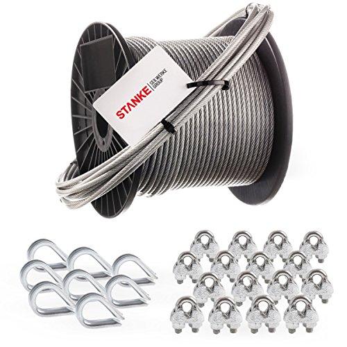 Seilwerk STANKE Rankhilfe PVC Drahtseil ummantelt verzinkt 20m Stahlseil 4mm 6x7, 8x Kausche, 16x Bügelformklemme - SET 3 -