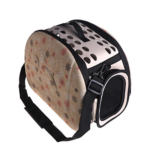 LANDUM Pet Travel Bag Outdoor Tragbar klappbar-seitige Carrier Hundehütte Floral Hund Katze Tote, Ethylenvinylacetat, Aprikose, M (Öffnen Sie Tasche Pet Carrier)