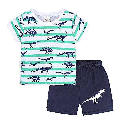 zug, 2 Stück Junge Bekleidungssets Unisex Outfit Set Tägliche Kleidung Strandkleidung Pajamas Drucken Tops T Shirt Blusen + Shorts Kurze Hose Jungenkleidung ()