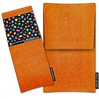 SIMON PIKE Samsung Galaxy S6 edge Filztasche Case Hülle 'Sidney' in orange 13, passgenau maßgefertigte Filz Schutzhülle aus echtem 100% Natur Wollfilz, dünne Tasche im schlanken Slim Fit Design für das Galaxy S6 edge