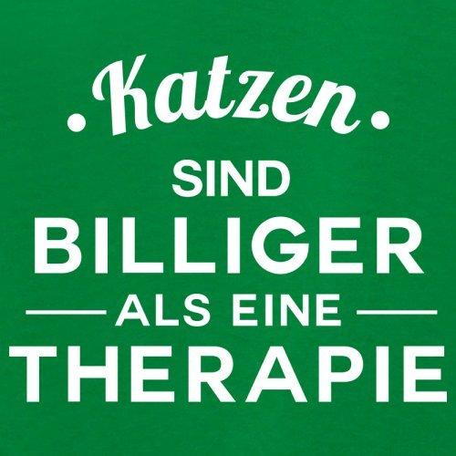 Katzen ist billiger als eine Therapie - Damen T-Shirt - 14 Farben Grün