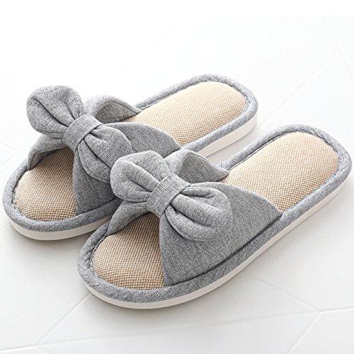 YMFIE Bow Tie Leinen Hausschuhe Innenraum schönen, weichen Sohlen Hausschuhe Schuhe, 38/39, die (Bow Tie Wohnungen)