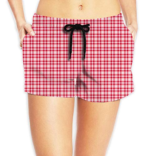 tgyew Red,White,Blue Plaid Pattern Womens Boardshorts Drawstring Bathing Suit,XL Soft-petite Womens Drawstring Pant