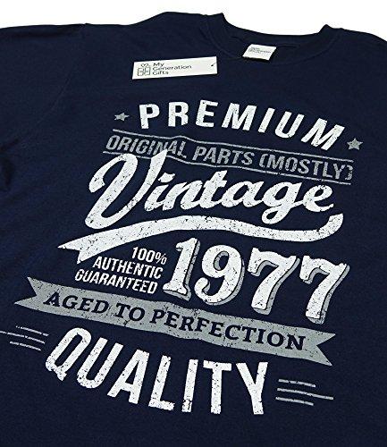 1977 Vintage Year - Aged To Perfection - 40. Geburtstag geschenk T-Shirt fr Herren Marineblau
