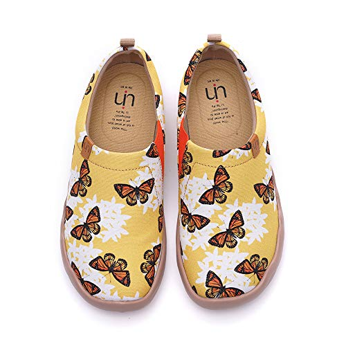 UIN Damen Schneeflocke Schmetterling Kunst Mode Sneaker Canvas Slip On Loafers Reisen Schuhe 40