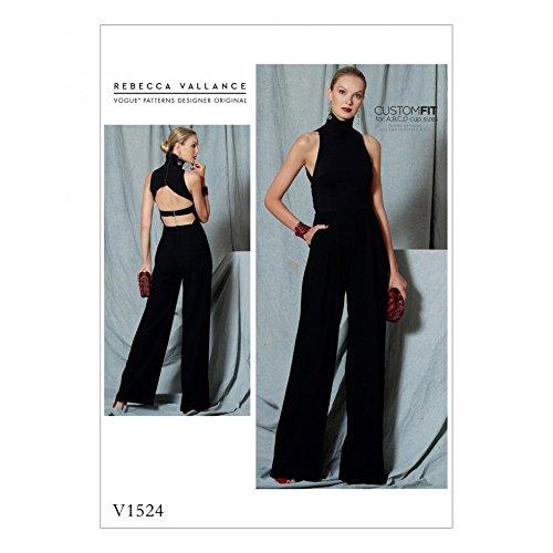 Vogue Damen Schnittmuster 1524offener Rücken Neckholder Gürtel Jumpsuit (Rücken-neckholder)