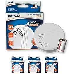 3x Nemaxx FL10 Rauchmelder - hochwertiger Rauchwarnmelder mit langlebiger 10 Jahre Lithium-Batterie - nach DIN EN 14604