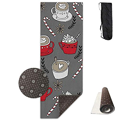 HiExotic Matte Yoga Mat Eco-Friendly Anti Slip Hot Chocolate Christmas Peppermint Latte Mat Carrying Strap & Bag Non-Toxic Printedfor Exercise,Yoga and Pilates 71 X 24 Inch