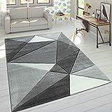 Paco Home Designer Teppich Moderner Konturenschnitt Trendige Dreiecke Grau Weiß, Grösse:120x170 cm