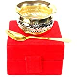 Fabzy High Quality Fabzy Gold And Silver Plated Matka Shape Bowl With Gold Plated Spoon With Beautiful GIFT BOX
