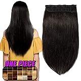 Clip in Extensions Echthaar Haarverlängerung Remy Echthaar 1 Tresse günstig Human Hair Haarverdichtung 55cm-100g(#1B Naturschwarz)