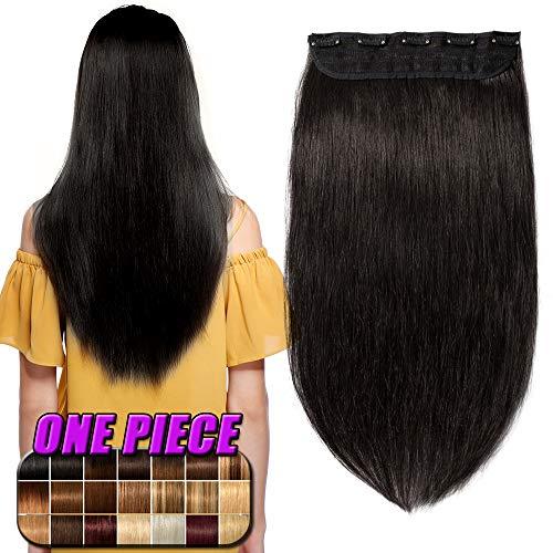 Clip in Extensions Echthaar Haarverlängerung Remy Echthaar 1 Tresse günstig Human Hair Haarverdichtung 55cm-100g(#1B Naturschwarz) (Clip In 100 Human Hair Extensions)