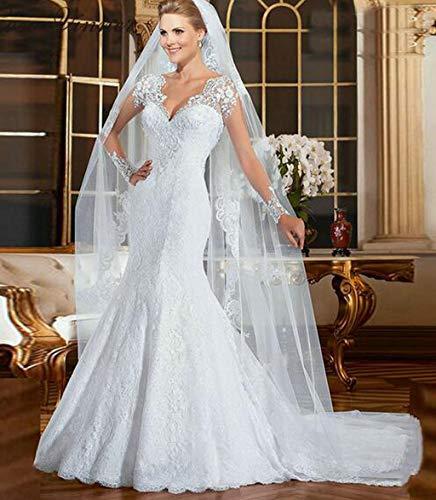 Jyl, abito da sposa per damigella d'onore, con spalle profonde, maniche lunghe, lunghezza del pavimento, linea a, avorio, us:6 (l)