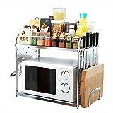 Küchenwagen HWF 2-Tier-Arbeitsplatte Mikrowelle Regal Küche Spice Racks Organizer Lagerung Multifunktions-Arbeitsplatte Stehen