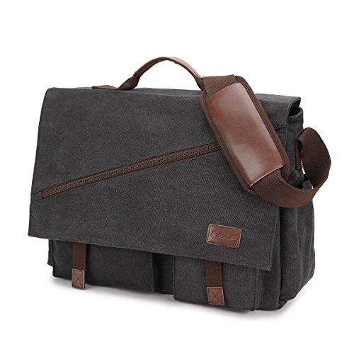 Umhängetasche Herren,Vintagem Segeltuch Herrentasche Wasserdicht Laptoptasche für 17-17.3 Zoll Laptop,Schultertasche/Kuriertasche/Messenger Bag von RAVUO (Black-17Zoll)