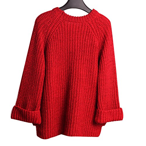 Hrph Hiver Automne Mode Pull Over Col Rond Manches Longues Lâche Pull Tricot Vrac Femmes Filles Rouge