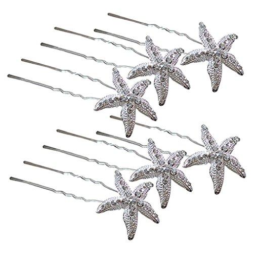 Accesorios para el pelo 6 horquillas en forma de estrella de mar para bodas, fiestas