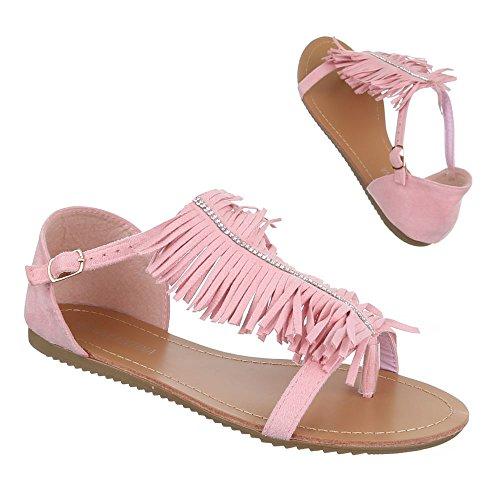Ital-Design Damen Schuhe, B19L-SF, Sandalen Fransen Zehentrenner Rosa