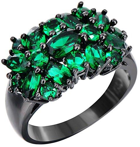 SaySure 10KT Black Gold Filled Emerald Anniversary Wedding & Engagement Ring (Gold-emerald-cut-ringe Rose)