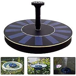 Latitop Fuente De Agua Solar, 1.4W Bomba De Agua Solar Fuente De Jardin Para Pájaros Con 4 Rociador Diferente, Filtro De Baño Al Aire Libre Para Pájaros,Patio Jardín Decoración