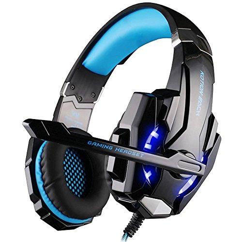 IMMOSO Gaming Kopfhörer PS4 G9000 Gaming Headset 3.5mm Stereo mit Mikrofon In-line Lautstärkeregler und LED Licht für PS4 Xbox One PC Tablet Smartphone Blau …