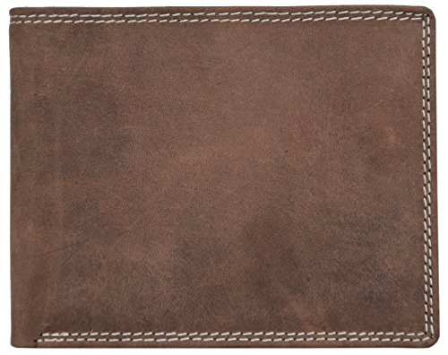 Solo Pelle Herren Vintage Geldbörse aus geöltem Büffel Leder und mit Doppelnaht 'Dublin' Portmonee I Portemonnaie (Querformat, Braun)