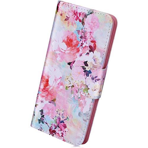 Herbests Kompatibel mit Huawei Honor 8C PU Leder Handyhülle Retro Wallet Case Flip Schutzhülle Leder Hülle Tasche Brieftasche Magnetverschluss Handytaschen Klapphülle,Bunt Rosa Blumen