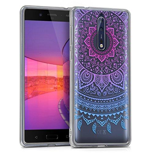 kwmobile Nokia 8 Hülle - Handyhülle für Nokia 8 - Handy Case in Blau Pink Transparent