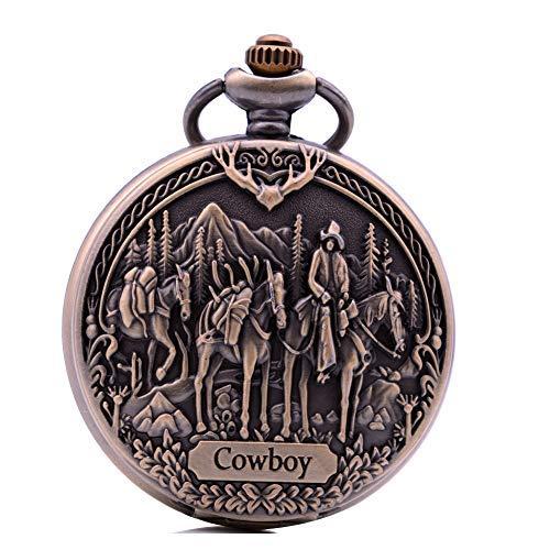 Taschenuhr Cowboy Vintage Bronze Quarz Taschenuhren für Cowboy Herren Jungen Taschenuhr mit Kette als Geburtstagsgeschenk