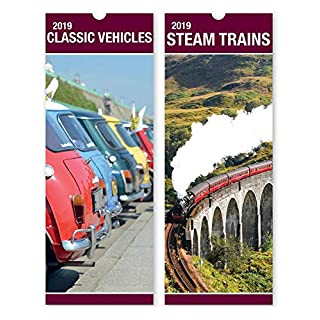ALANNAHS ACCESSORIES Slimline 2019 Hanging calendar Daily Planner Dates Monthly Pets Nature Cars - -Steam Trains