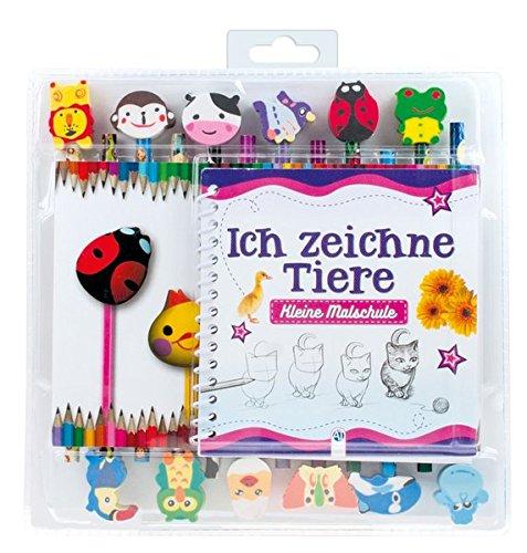Kleine Malschule 'Ich zeichne Tiere': Set mit 6 Buntstiften, 6 Bleistiften und 12 Radierern