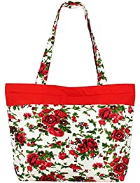 De usos múltiples de naranja blanco Bolsa de compras - la bolsa de asas de algodón con cierre de cremallera y dos asas