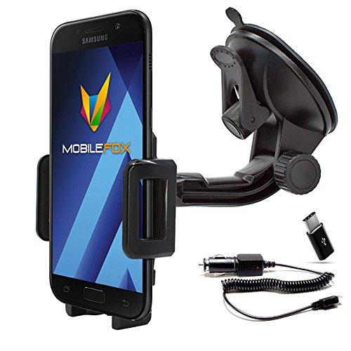Mobilefox 360° KFZ Handy Saugnapf Halterung + Micro-USB Ladekabel + C Adapter Auto Windschutzscheiben Halter SET für Samsung Galaxy A3/A5 (2017)