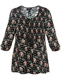 Ulla Popken Damen große Größen bis 62+   Bluse, Tunika   Reine Viskose,  Rundhals mit Bindeband   ¾-Arm, Blüten-Muster   dunkelblau, bunt  … 32b58cfb68