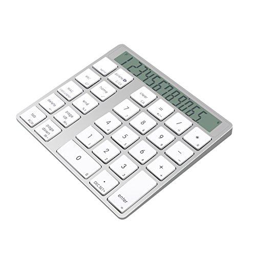 Cateck 2-in-1 Aluminium Bluetooth, kabelloses Smart-Nummernpad & Taschenrechner mit 28 Tasten für kabellose Apple Magic Keyboards mit eingebauten Lithium-Akkus -